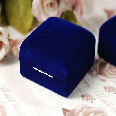 Velvet Ring Jewelry Box Case Blue Display Valentine Gift Show Display 5x5.5cm