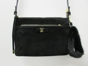 1e47fc6722 New SALVATORE FERRAGAMO Suede   Genuine Mink Fur Clutch Bag Purse in ...