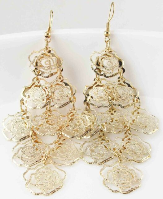 handmade Yellow Gold plated Elegant Rhinestone Ear Stud dangle Earrings e484