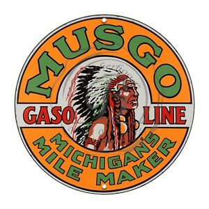 Vintage-Design-Sign-Metal-Decor-Gas-and-Oil-Sign-Musgo-Michigan-039-s-Gasoline