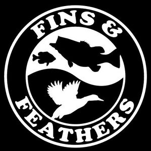 Fins and feathers decal vh0014 fishing truck boat vinyl for Fishing stickers for trucks