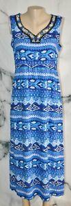 ELEMENTZ Blue White Black Patterned Sleeveless Maxi Dress PL Petite Beaded Trim