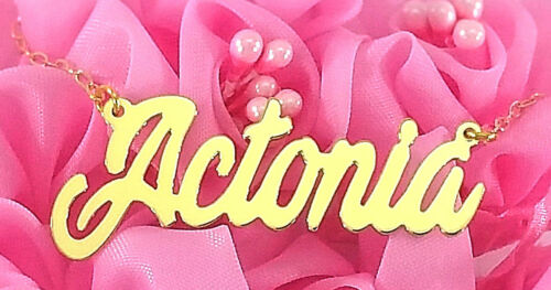 PERSONALIZED 18K GOLD PLATED ANY  NAME PLATE NECKLACE  US SELLER ACTONIA STYLE