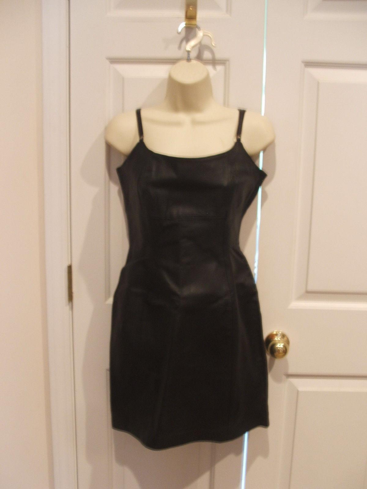 New in pkg styleworks  schwarz leather straps strapless  dress Größe  8