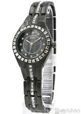 New Elgin Steel Black Crystals Bezel Women Bracelet Watch 26mm EG7056