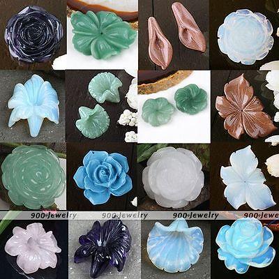 Natural Handmade Carved Flower Rose Quartz Amethyst Agate Gemstone Bead Pendant
