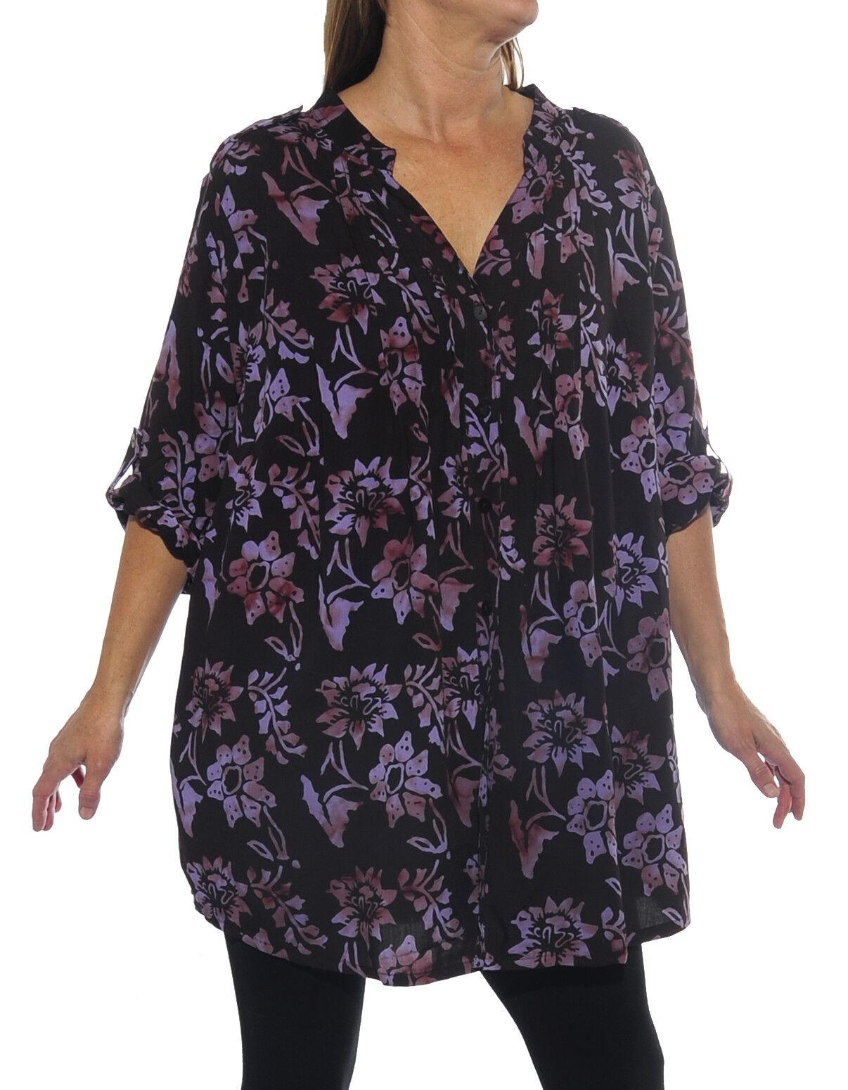 We Be Bop Women's Plus Size Starry Flower Purple Katherine Blouse 0X-6X