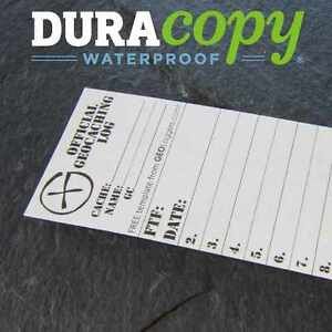 5-x-NEW-GEOLoggers-SMALL-4cm-Geocaching-Log-Sheet-DURACopy-WATERPROOF-RITR