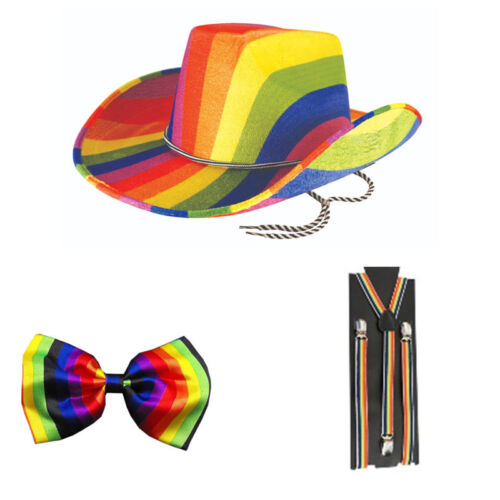 Unisex Rainbow Gay Pride Braces /& Bow Tie LGBT Freedom Festival Party Set