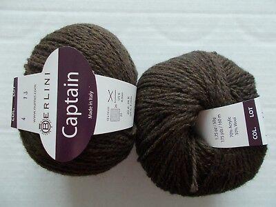 175 yds each Berlini Captain wool blend yarn lot of 2 Gentle Rose
