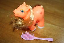 2011 My Little Pony Figure Orange Color Pony with 2 Hearts Cutie Mark  Brush Inc