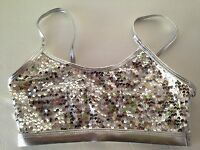 Gia-mia G229 Adult Silver Sequin Bra Top Dance Wear Excellent Quality