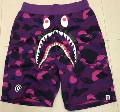 Men/'s Japan Bape Shark Jaw Como Short Stretchy A bathing Ape Casual Purple Pants