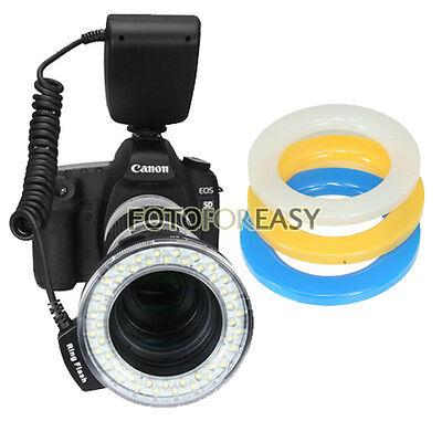 RF-550D Macro O Ring 48-LED Flash Light for 49/52/55/58/67/72/77mm Lens w/ LCD