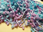 Multi Pale Blue/ Lilac / Light Turquoise PomPom Braid Fringe Lace Trim#2Mi421B