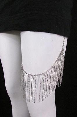 New Women Silver Metal Trendy Long Leg Armor Chains Body Tassel Fashion Jewelry