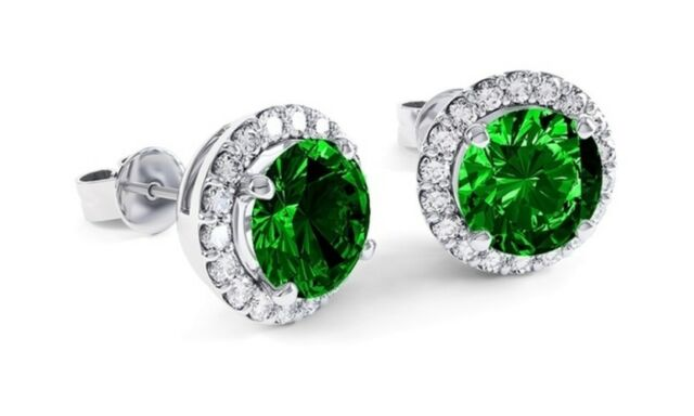 Sterling Silver 4 Prong Basket Set Created Emerald May Birthstone Stud Earrings