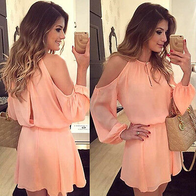 Sexy Women Long Sleeve Chiffon Evening Cocktail Party Casual Short Mini Dress