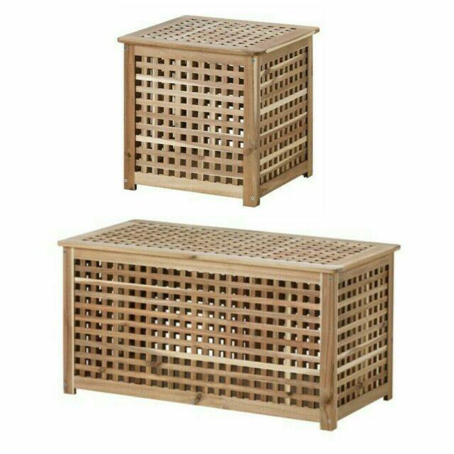 Ikea Hol Storage Table Acacia Wooden Box Laundry Basket Side Coffee