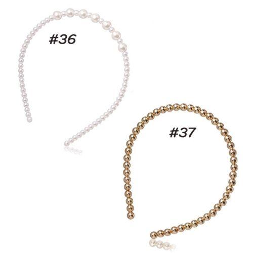 Women/'s Pearls Hairbands Big Headband Hair Hoop Accessories Crown 50 Styles