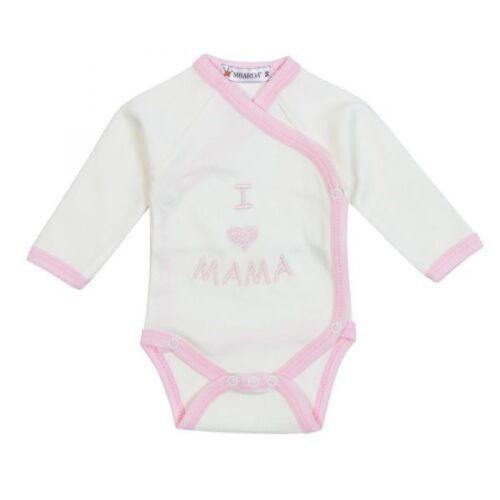 "creme-rosa Gr 50-74 Milarda Baby Body Wickelbody /""I love MAMA/"""
