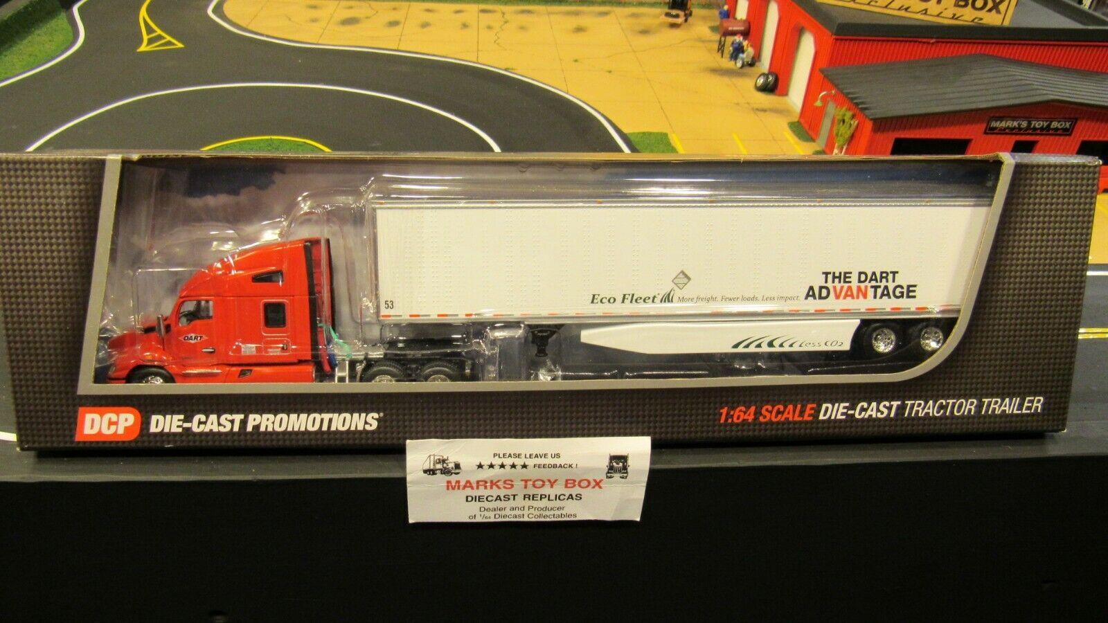 DCP 34126 DART TRANSIT COMPANY KW T680 SEMI CAB TRUCK DRY VAN TRAILER 1 64 CL