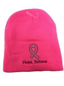 Pink Embroidered Breast Cancer Awareness Ribbon Hope Believe Beanie Stocking Cap