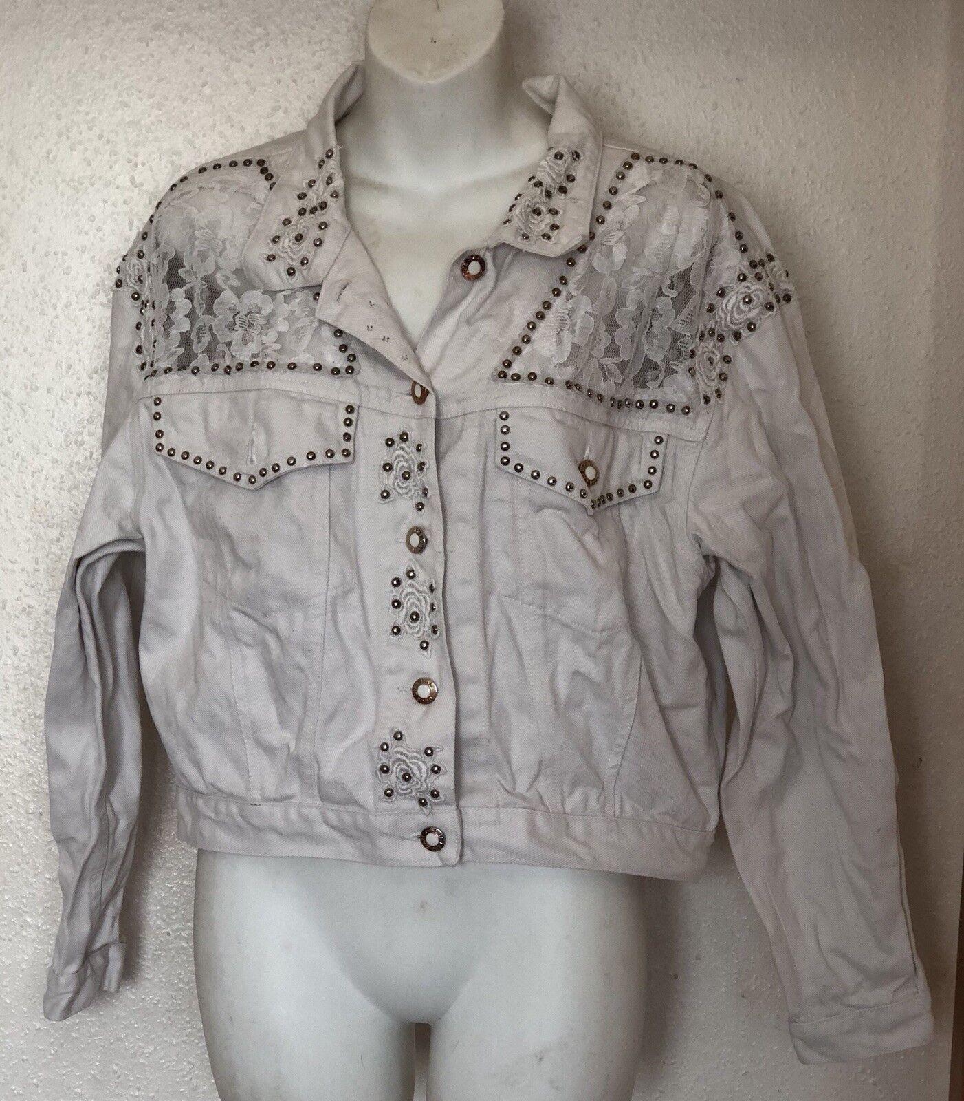 b9034717f98f6 Blanc Clous   Netted Veste en jean-Taille - 10 - jean-Taille 12-Stud 1503fb