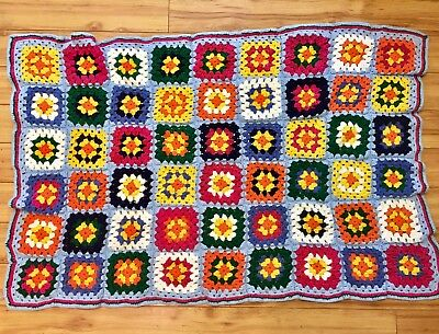 Vintage Hand-Knit Crocheted Afghan Throw Blanket (32x48) Squares/Flowers 60s/70s