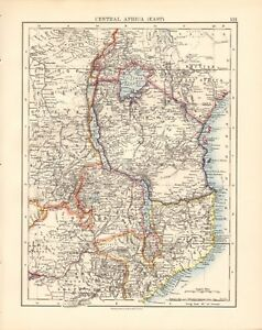 Lakes Of Africa Map.1897 Antique Map Johnston Africa Central Africa East Lakes Ebay