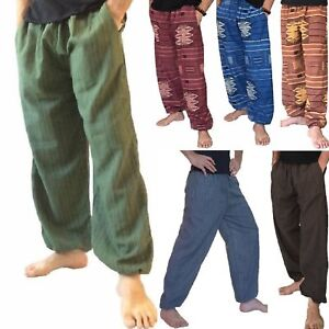 Mens-Womens-Baggy-Cotton-Harem-Trousers-Pants-Hippie-Boho-Aladdin-Ali-Baba-Yoga