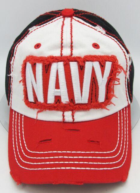 NAVY Hat US Military USA Vintage Distressed Ball Cap OSFM NWT United States U.S