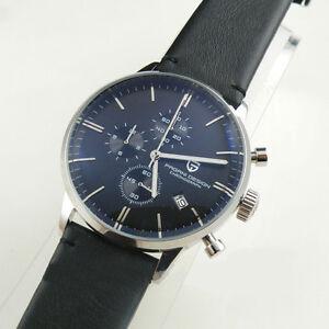 pagani design 43mm chronograph schwarzes zifferblatt leder herren