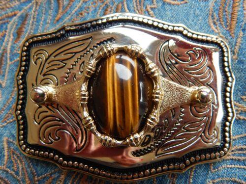NEW  TIGERS EYE STONE BELT BUCKLE GOLD COLOUR METAL WESTERN COWBOY GOTH WEDDING