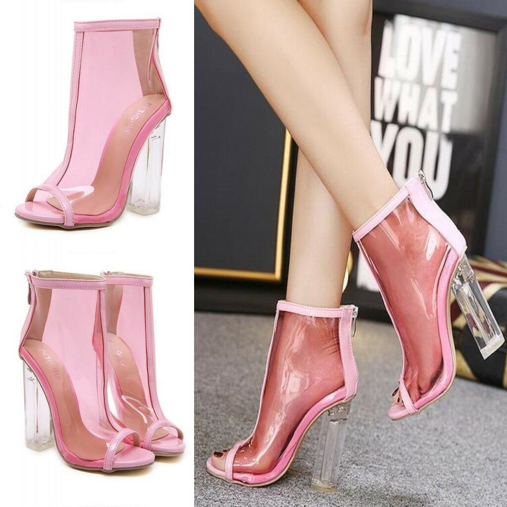 Women's Transparent Ankle Boots Peep Toe Block Chunky High Heels Fashion Shoes