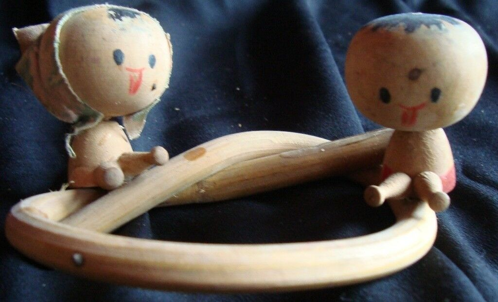 Old vintage wooden Dolls sitting on Ring  Fig's from India 1940