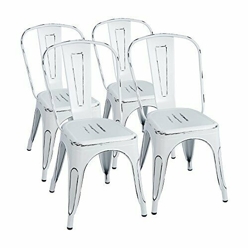 Stylish Metal Chairs in Sanded Distressed Style for Cafe   Restaurants etc (4ct)