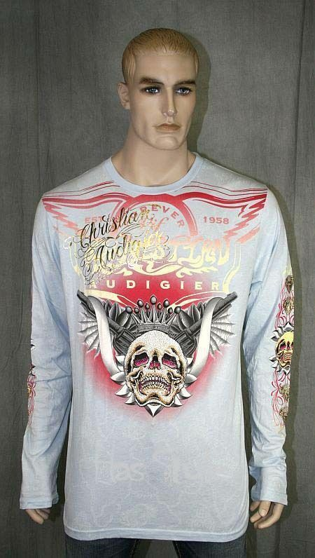 Christian Audigier Long Sleeve T-shirt SKULL WING Stones Light Blau RARE