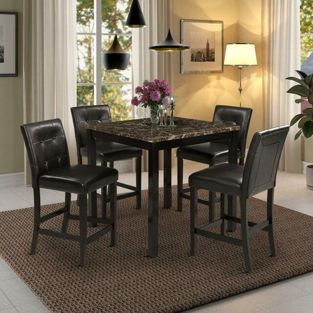 Modern Dining Room Set 9pcs Beige Counter Height Marble Square