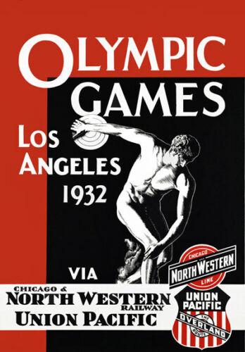 Ta35 Vintage Los Angeles 1932 Juegos Olímpicos ferrocarriles viajar Cartel A2 A3