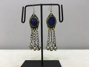 Earrings-Lapis-Dangle-Silver-Bells-Oval-Belly-Dance-Dangle-Earrings-E168