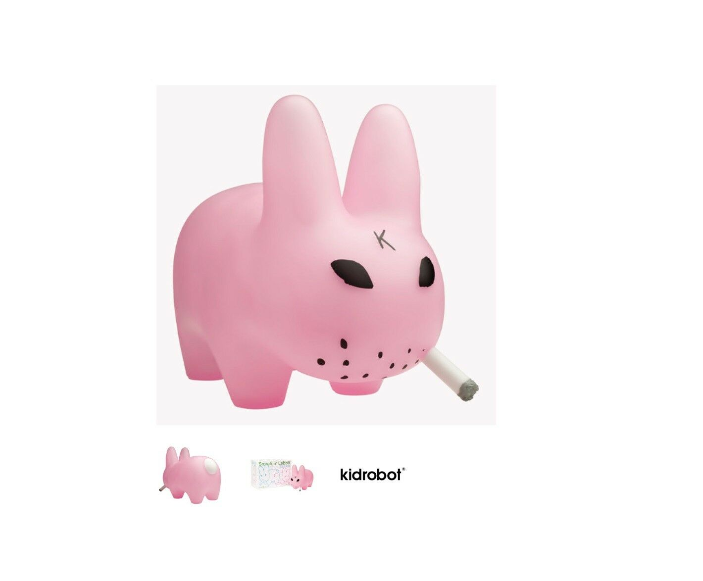 RARE  Kidrobot Frank Kozik Smorkin' Labbit 10 Inch Vinyl Clear Pink Edition