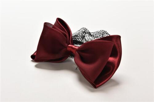 Lady Woman Bow Hairnet Barrette Bowknot Hair Clip Bun Cover Snood Net JDUK