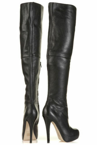 TOPSHOP 'barley2' over the knee thigh high leather boots boots boots uk 5 eu 38 us 7.5 868f6f