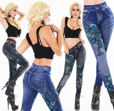 Umile Leggings Termici Pantaloni High Waist Tattoo Print Perle Look Jeans Alta Federale 34-38-mostra Il Titolo Originale