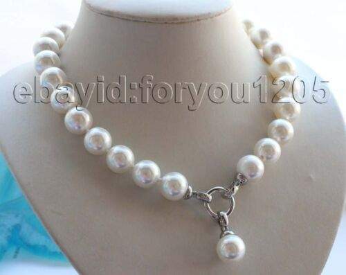 "18/"" 14 mm Naturel Rond Blanc Coquille Perle Collier Pendentif #f1619!"