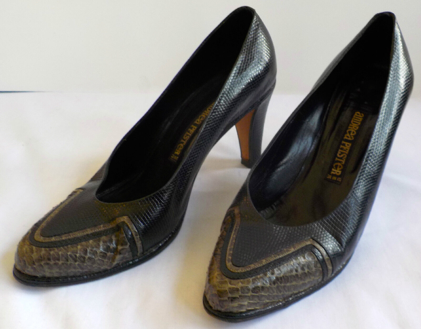ANDREA PFISTER Vintage fashion Snakeskin Leather Woman's chaussures 36½ Made in