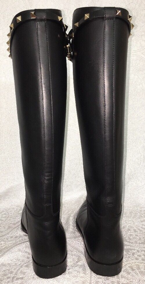 Valentino Boots Knee-High Black Leather Rock Stud Stud Stud Strap Size 39 1 2 4a3af1