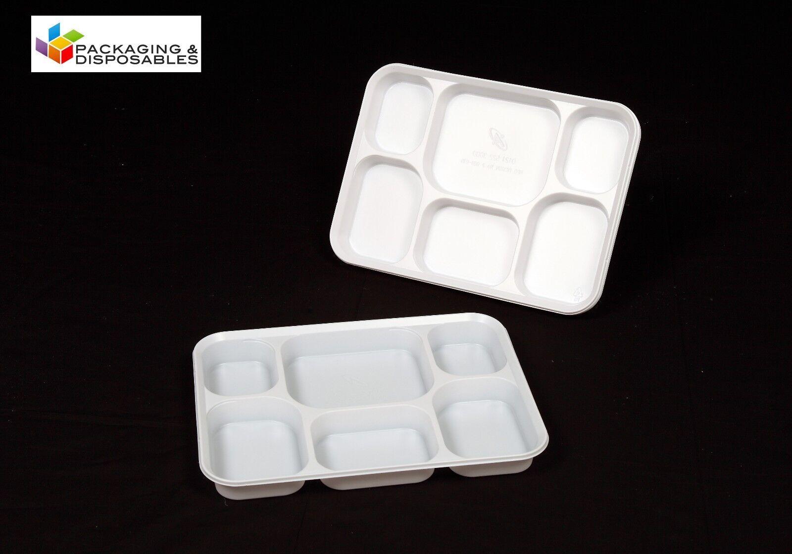 500 x jetables 6 section   plaques de plastique compartiment bac-Party