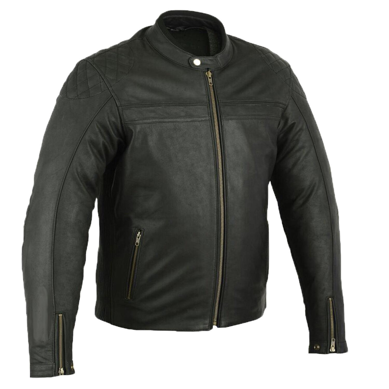 black Motocicleta Cuero Chaqueta, Biker Club Chaqueta gr NUEVO m-3xl